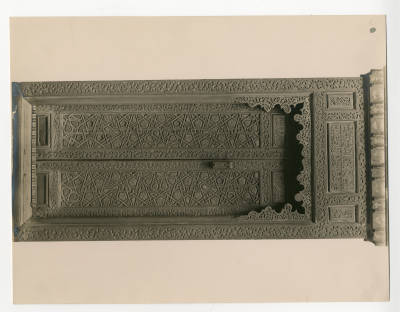 "<bdi class=""metadata-value"">Wooden arabesque door of mihrab at the Victoria and Albert Museum.</bdi>"