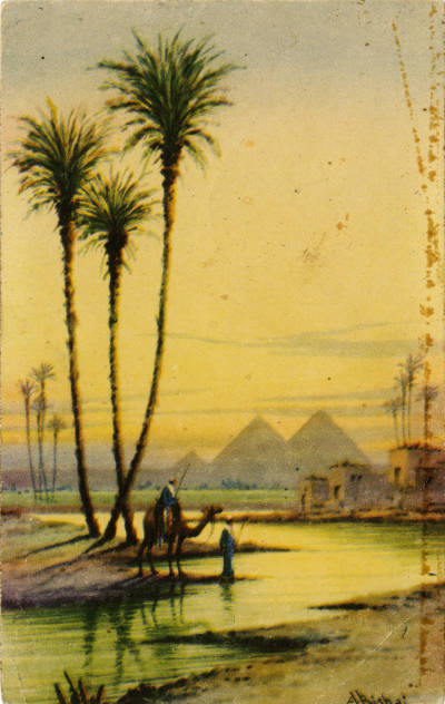 """<bdi class=""""metadata-value"""">A beautiful sunset near the Pyramids of Giza with graceful palmtrees in the foreground</bdi>"""